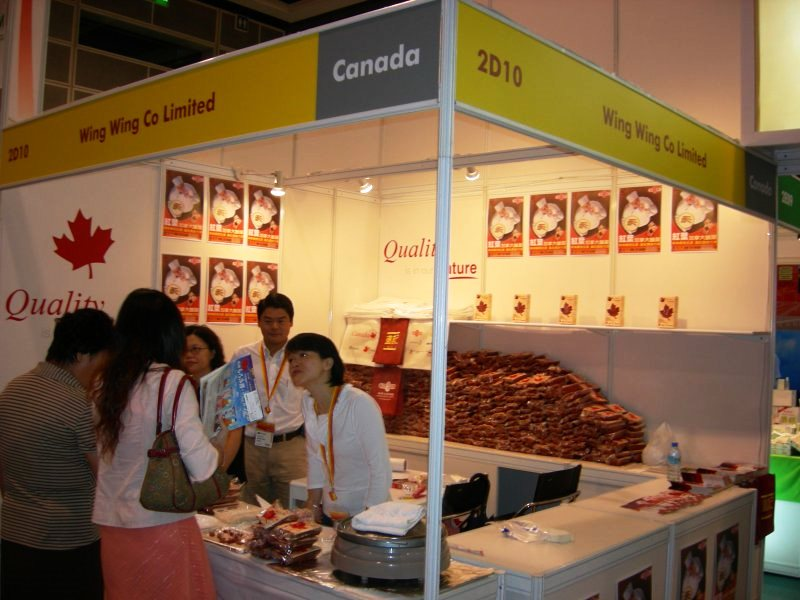 Photo: Wing Wing showcases its sausages at the Hong Kong Food Expo.