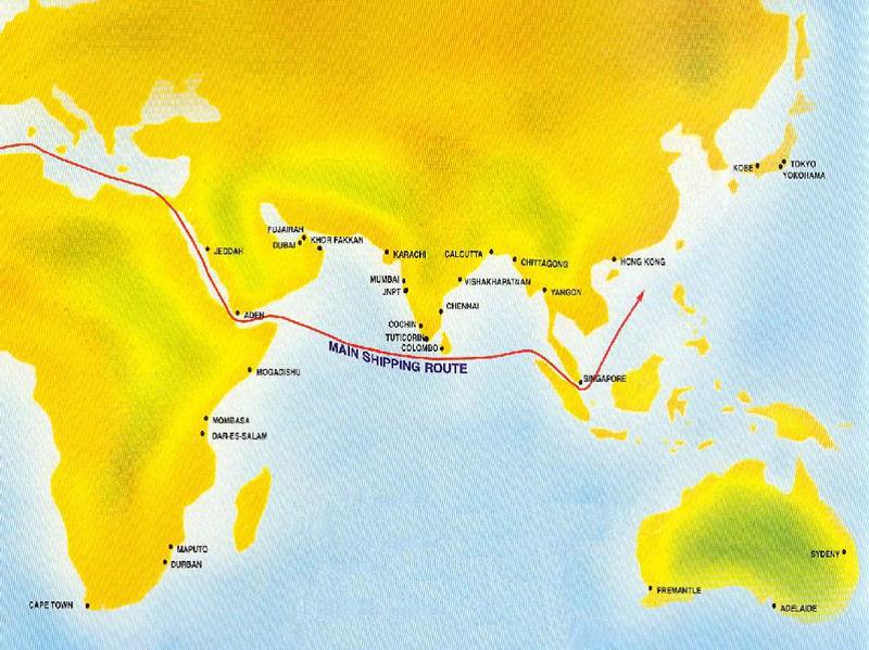 地图: 斯里兰卡首都科伦坡位于主要商贸路线中央.