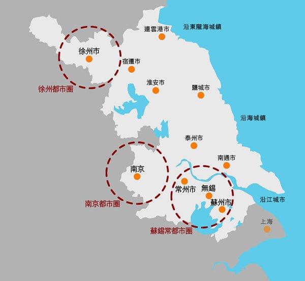 圖:江蘇省城鎮空間結構規劃圖