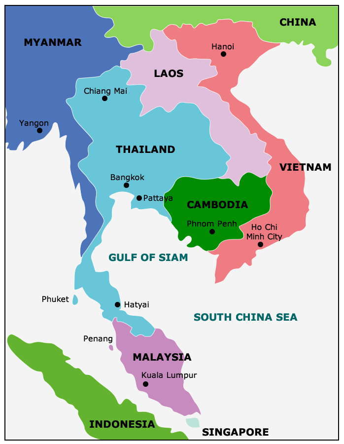 Map: Thailand's Border Countries