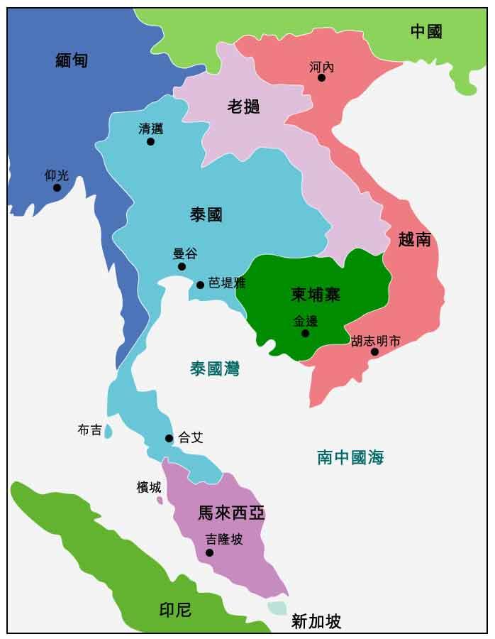 图: 与泰国接壤的国家