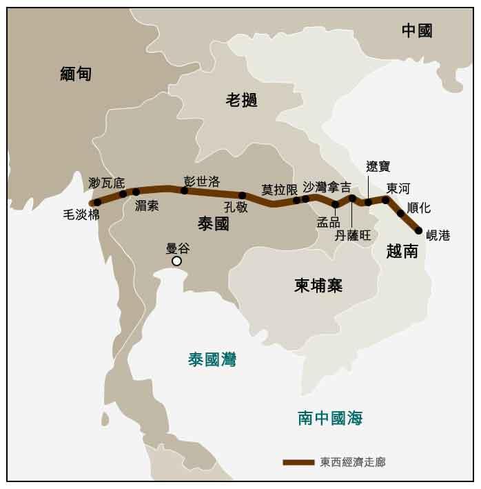 图: 大湄公河次区域的东西经济走廊