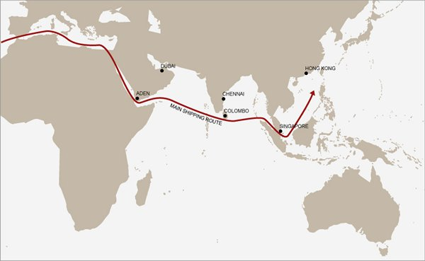 Map: Sri Lanka lies on a major East-West trade route close to India.