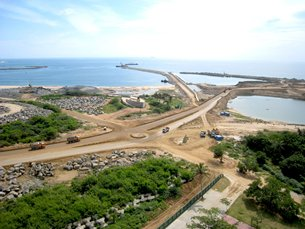 Photo: Phase 2 of Hambantota project is under construction.