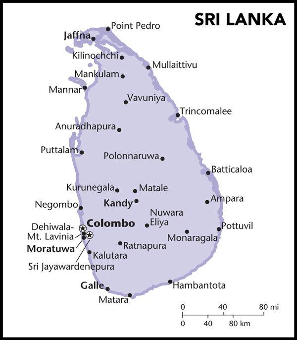 地图: 汉班托塔位于斯里兰卡南部。