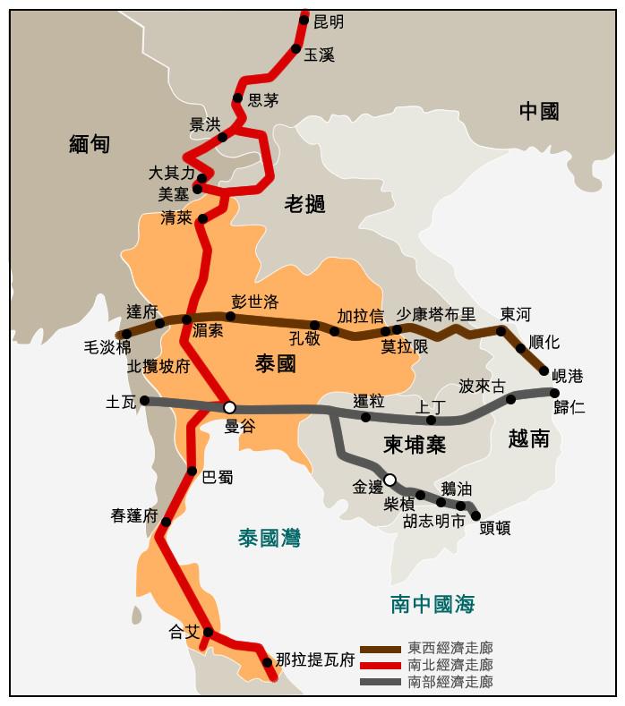 地图: 大湄公河次区域经济走廊