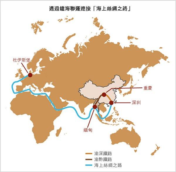 圖:通過鐵海聯運連接「海上絲綢之路」