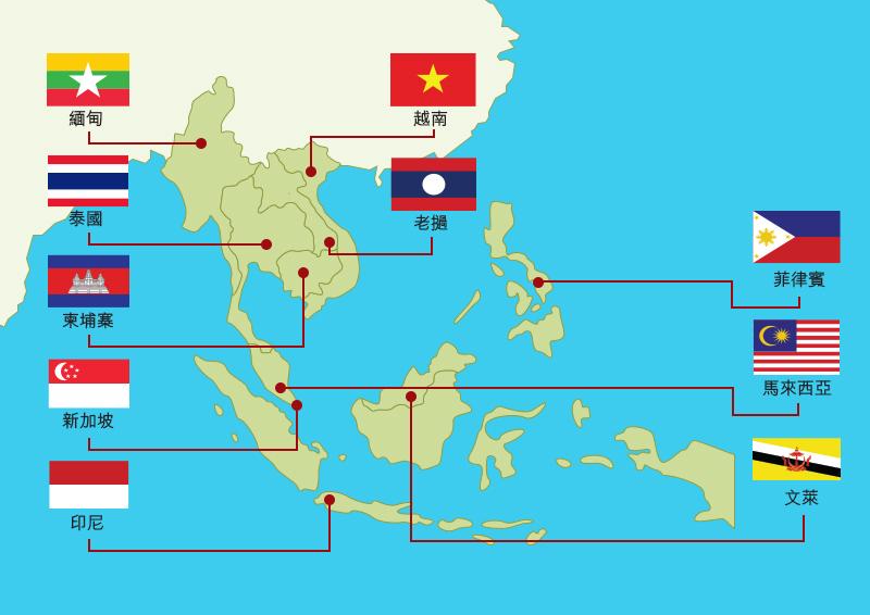 地图: 建立东盟经济共同体