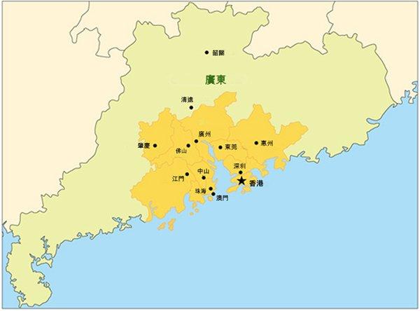 地图:广东省珠三角经济区