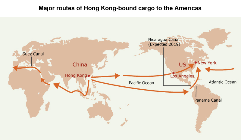 Picture: Major routes of Hong Kong-bound cargo to the Americas
