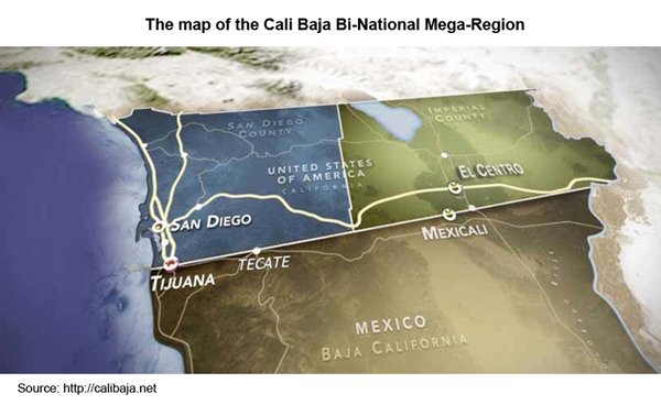 Picture: The map of the Cali Baja Bi-National Mega-Region