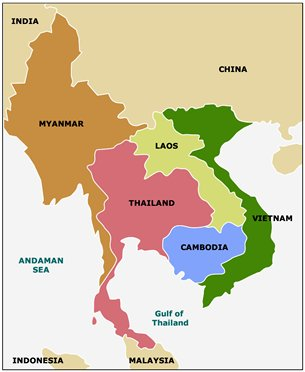 map mainland southeast asia