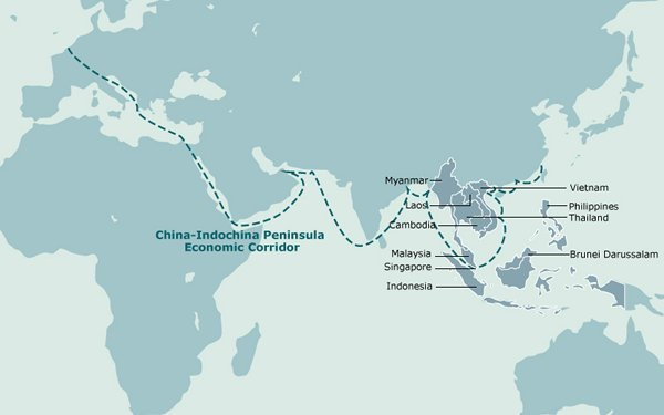 The asean link in chinas belt and road initiative hktdc research map china indochina peninsula economic corridor gumiabroncs Choice Image