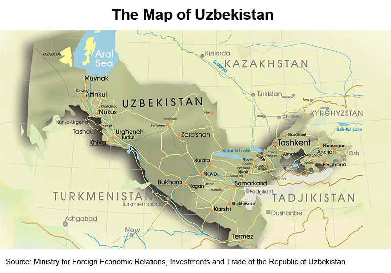 Picture: The Map of Uzbekistan
