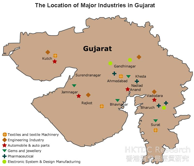 Map: The Location of Major Industries in Gujarat