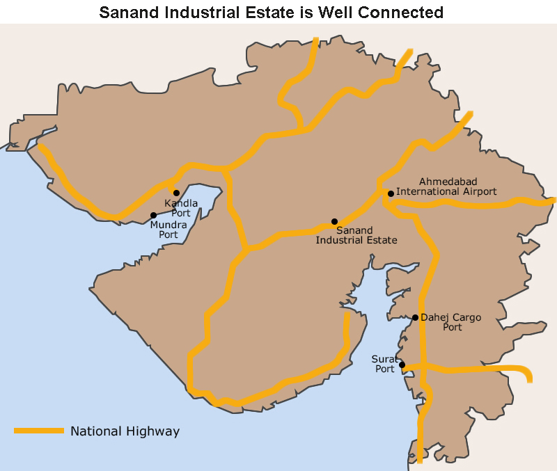Map: Sanand Industrial Estate is Well Connected
