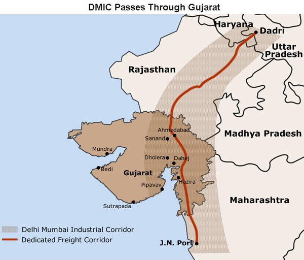 Map: DMIC Passes Through Gujarat