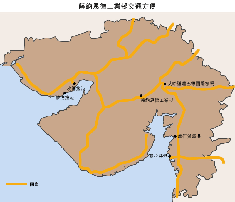 地图: 萨纳恩德工业邨交通方便