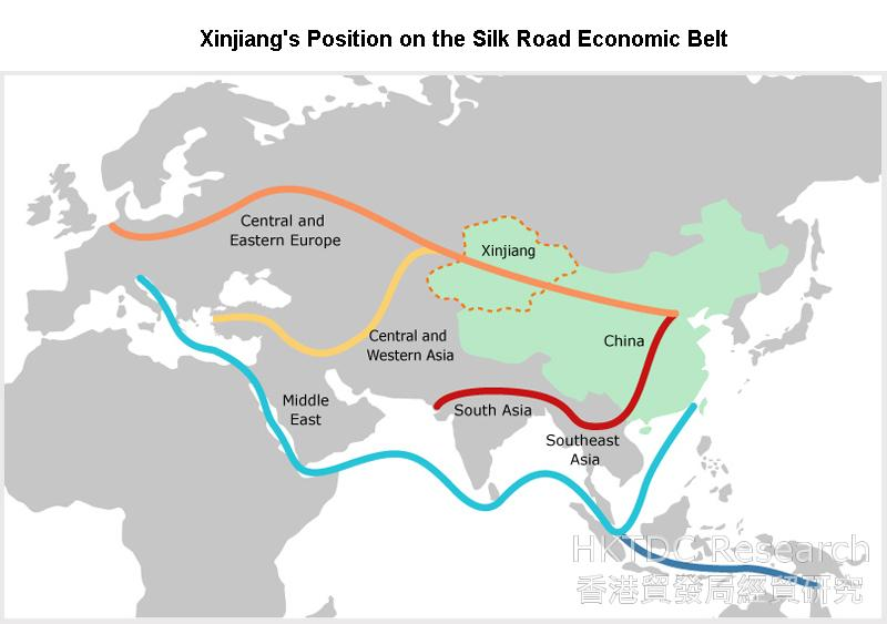 Picture: Xinjiang's Position on the Silk Road Economic Belt