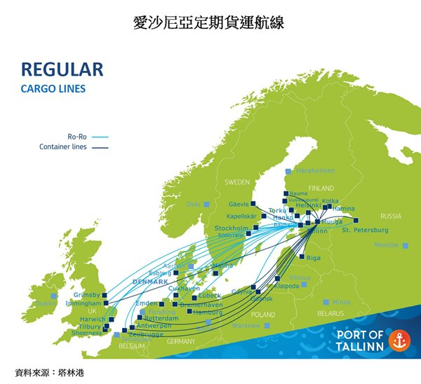 圖片:愛沙尼亞定期貨運航線