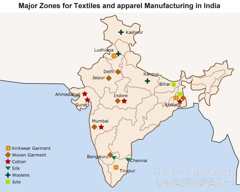 Map: Major Zones for Textiles and apparel Manufacturing in India