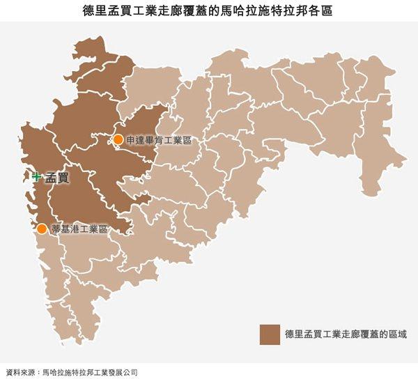 地图: 德里孟买工业走廊覆盖的马哈拉施特拉邦各区
