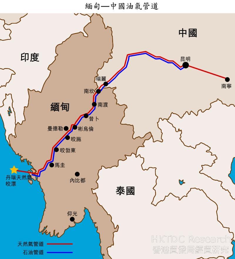 地图: 缅甸—中国油气管道