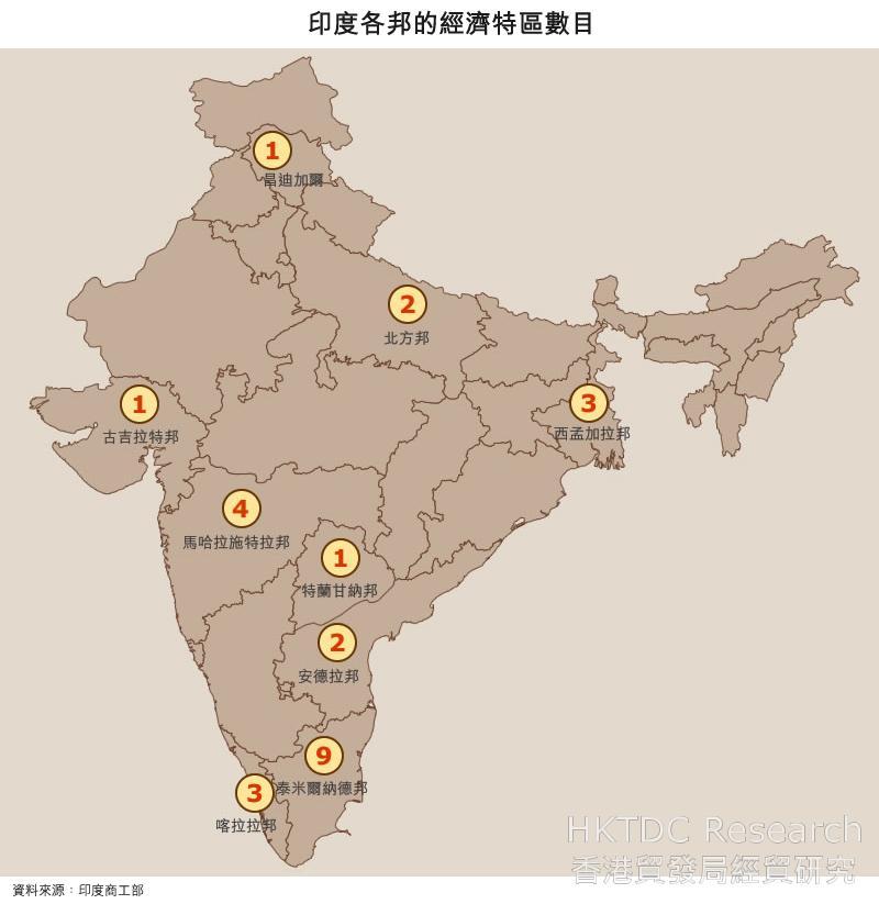 地圖: 印度各邦的經濟特區數目