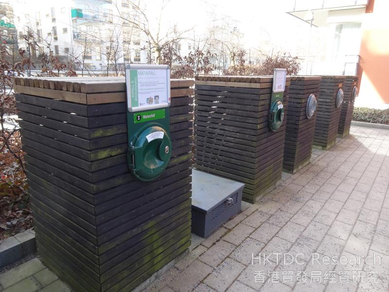 Photo: Envac collection inlets located in the courtyard of  a building in Hammarby Sjöstad
