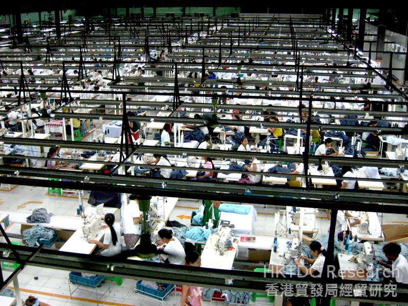 Photo: A garment factory in Yangon with multiple production lines