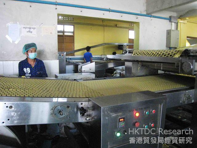 Photo: A biscuits factory in the Mandalay Industrial Zone with raw materials imported from China