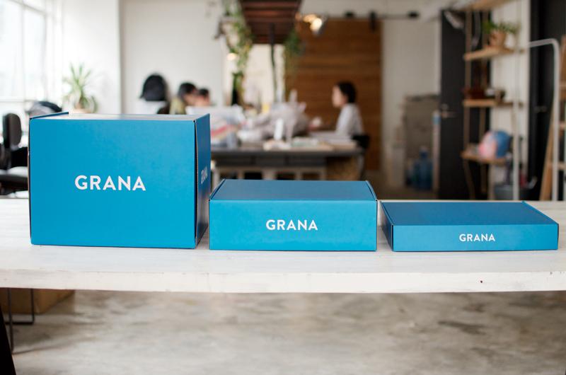 Photo: Grana ships in smart, cornflower blue boxes.