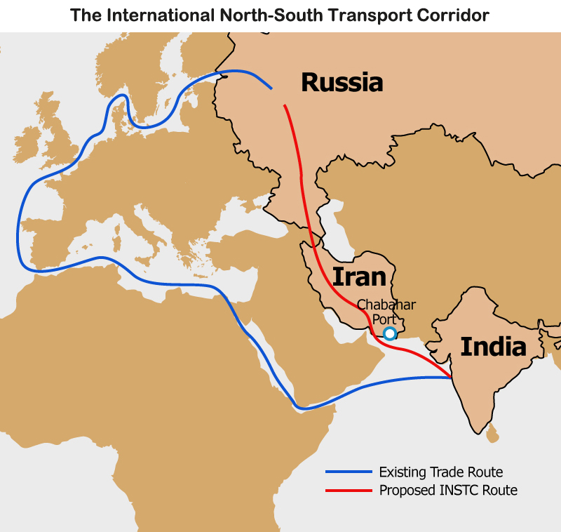 Map: The International North-South Transport Corridor