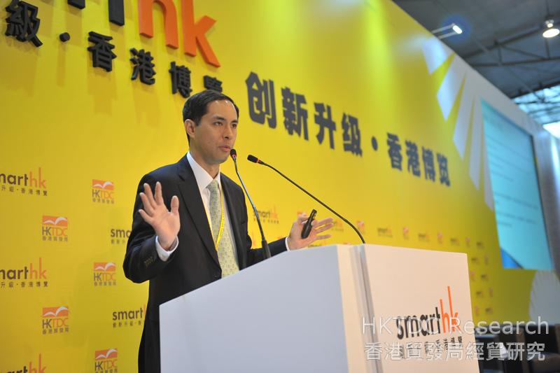 相片:曾光宇先生指出香港的商贸平台可有效解决企业「走出去」的投、融资问题。