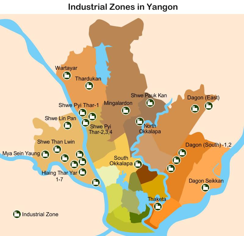 Map: Industrial Zones in Yangon