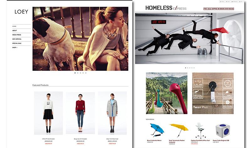 相片: 越来越多品牌商家选用Shopline平台,包括香港时装品牌Loey(左)和香港时尚生活用品品牌Homeless(右)。