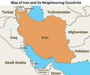Map: Iran and its Neighbouring Countries