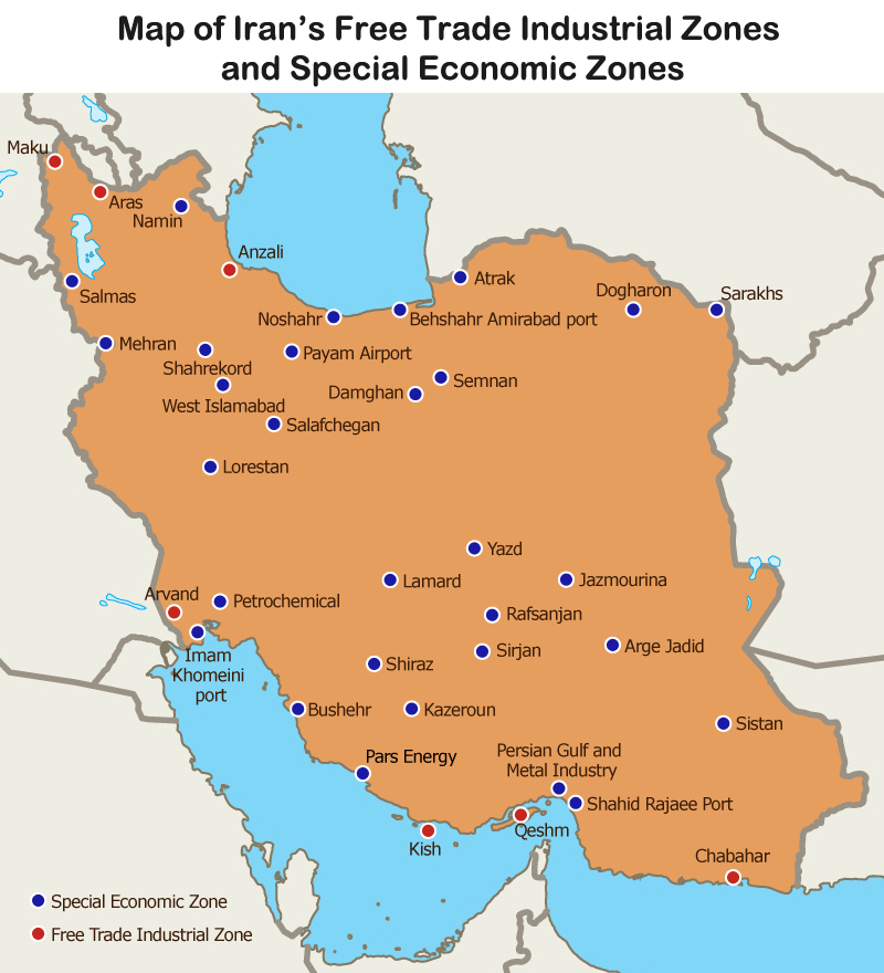 Map: Map of Iran's Free Trade Industrial Zones and Special Economic Zones