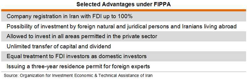 Table: Selected Advantages under FIPPA
