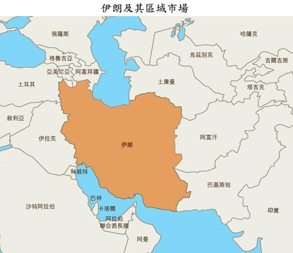 地圖: 伊朗及其區域市場