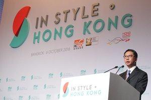 相片:律政司司长袁国强为香港贸易发展局主办的「时尚潮流.魅力香港」主持开幕典礼。