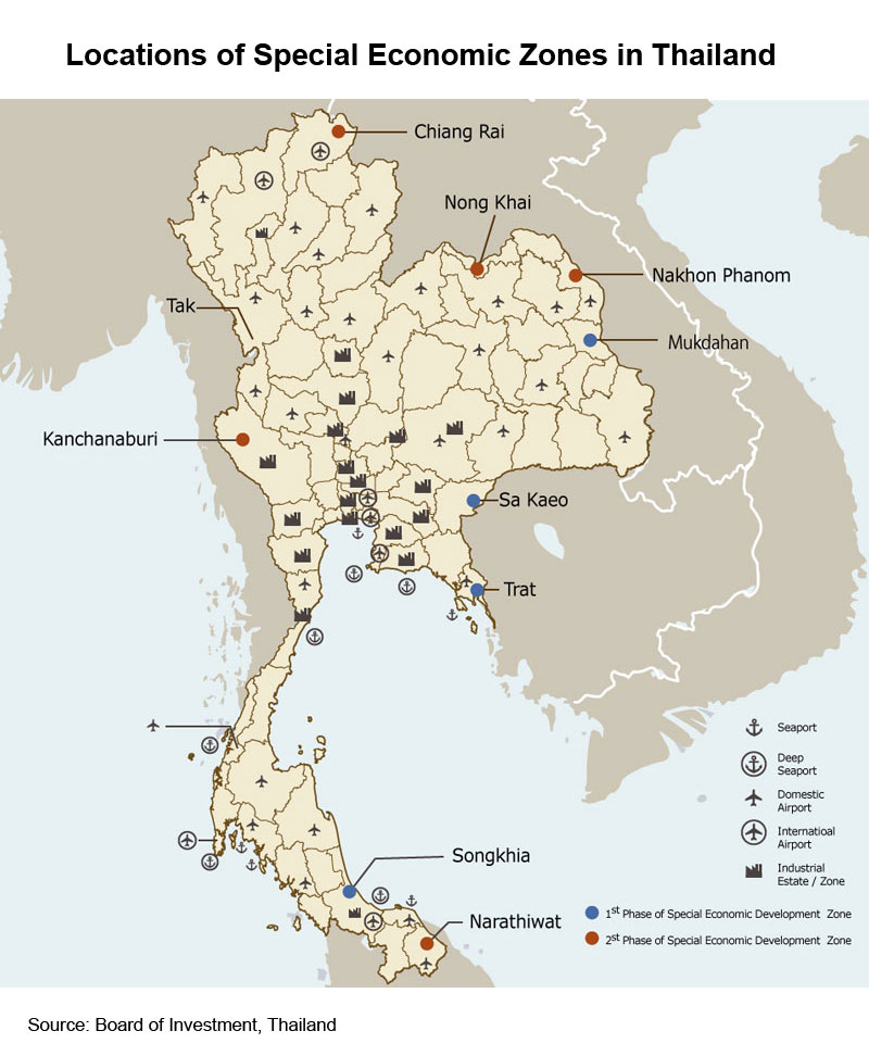 Picture: Locations of Special Economic Zones in Thailand