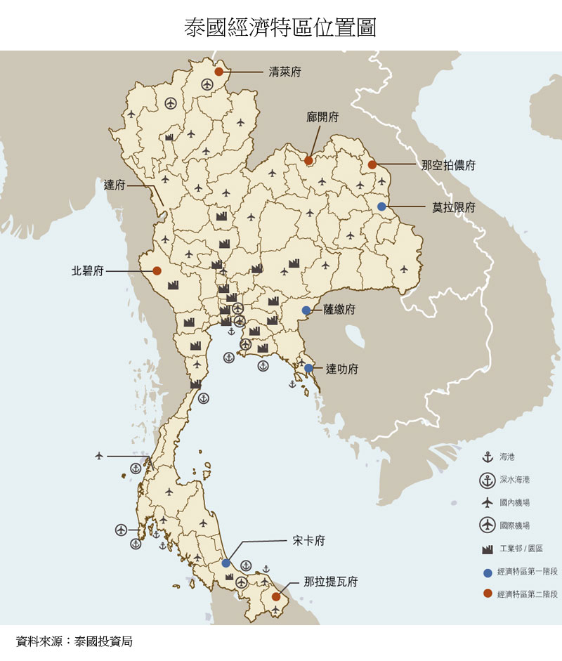 图:泰国经济特区位置图