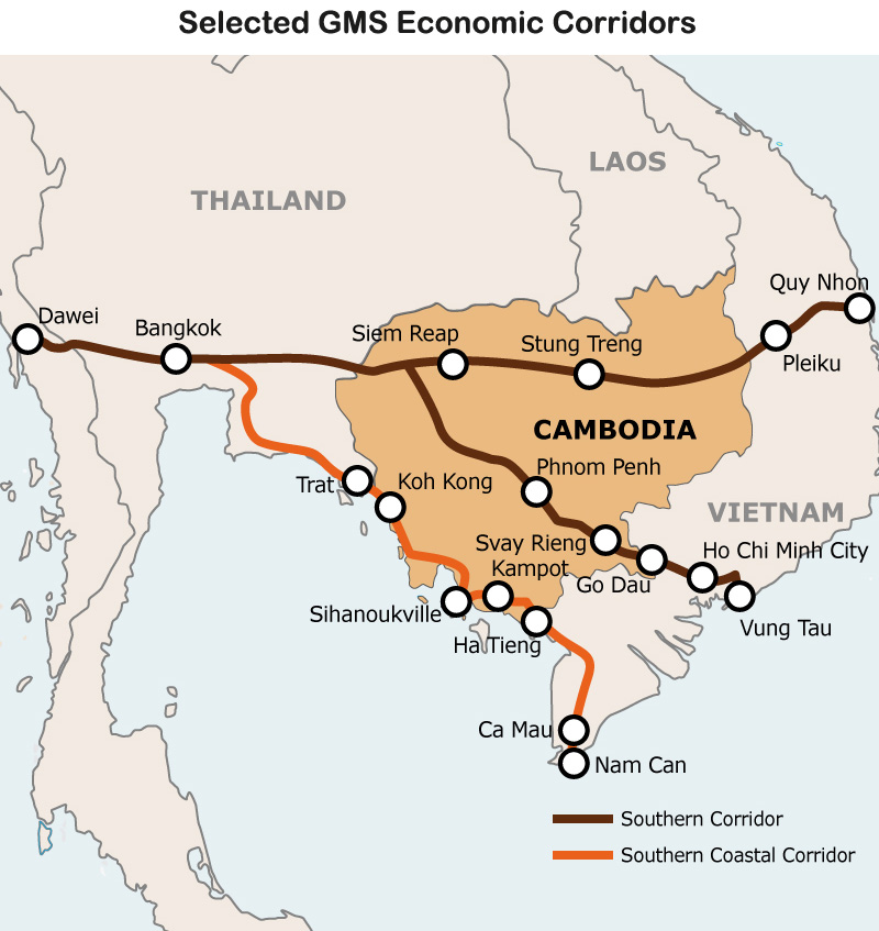 Map: Selected GMS Economic Corridors