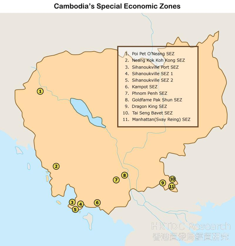 Map: Cambodia's Special Economic Zones