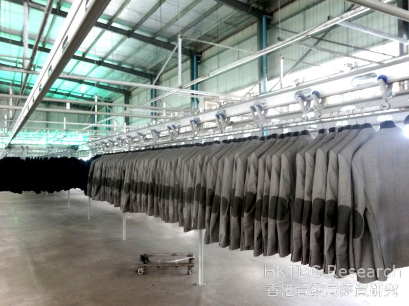 Photo: Suit jackets ready for export to Europe.