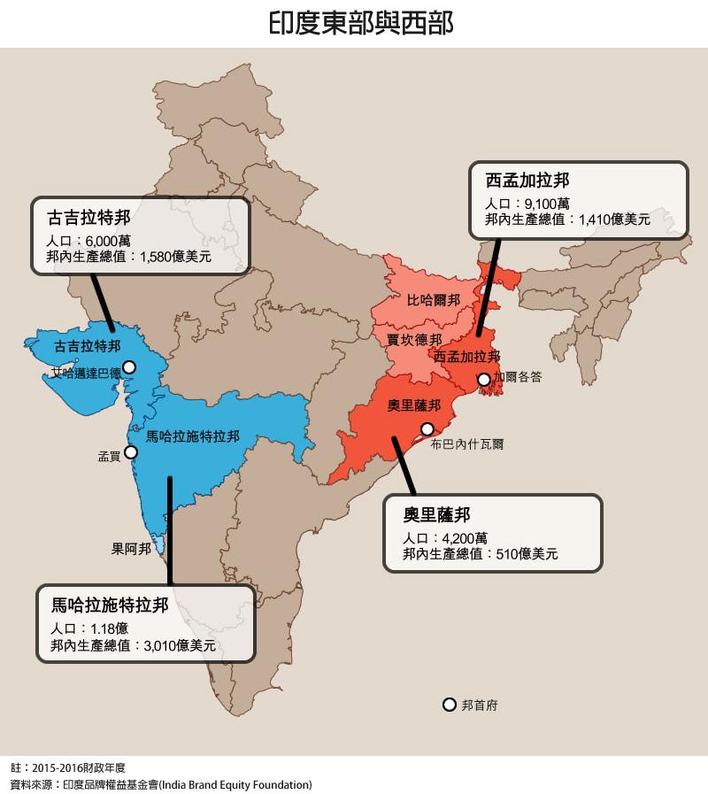 地圖: 印度東部與西部