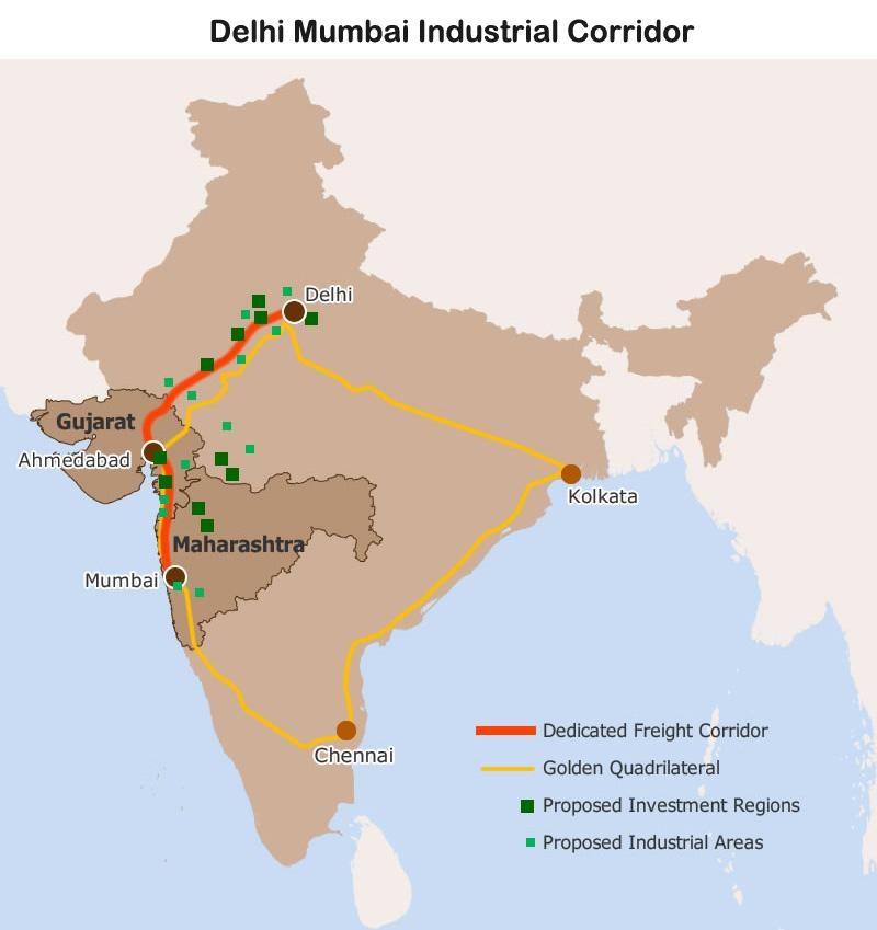 Map: Delhi Mumbai Industrial Corridor