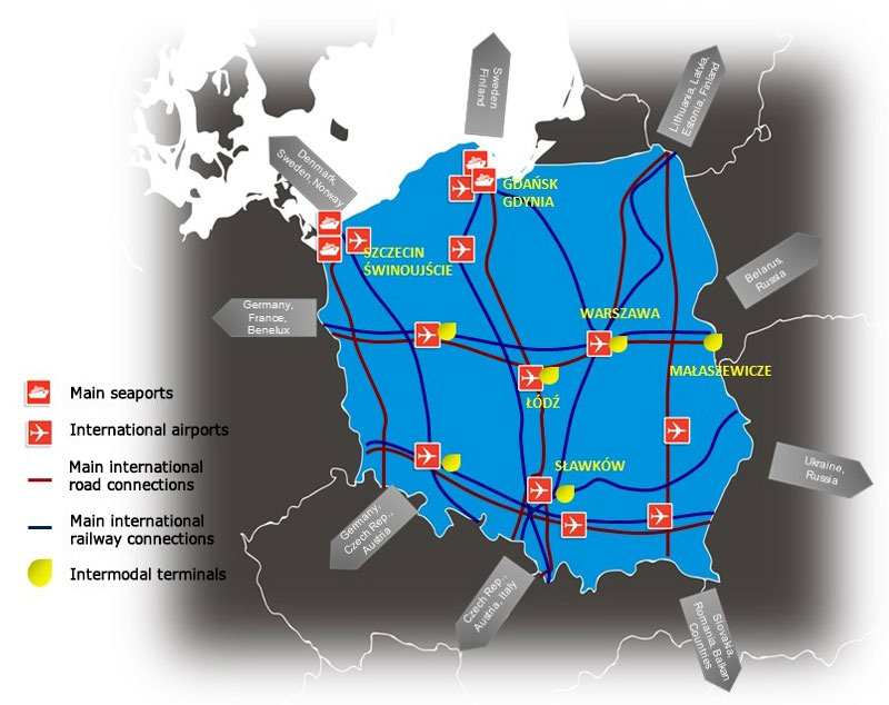 Picture: Poland transport network.