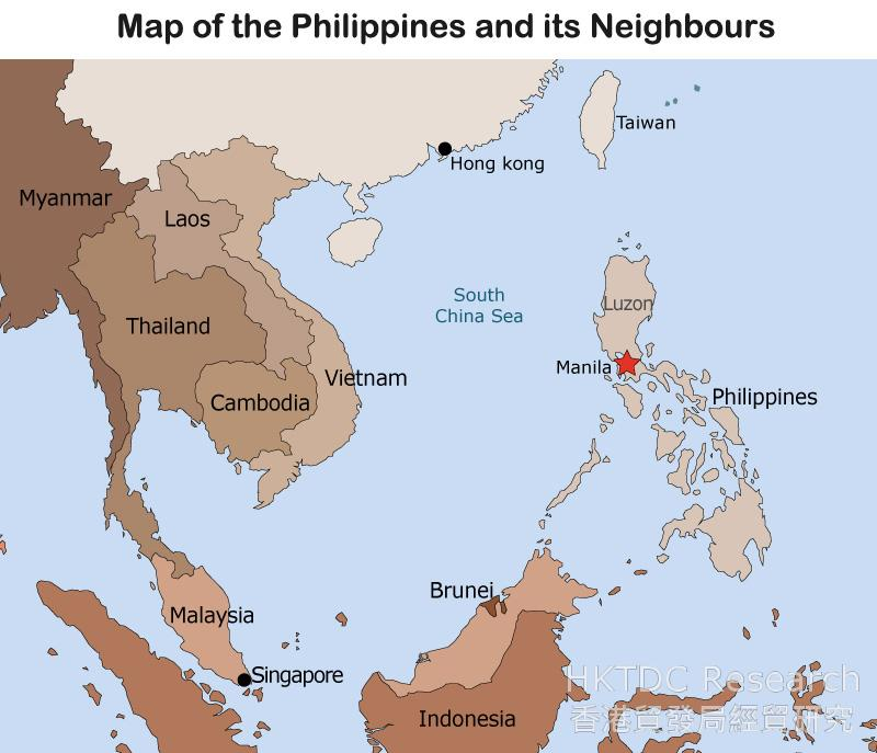Map: the Philippines and its Neighbours
